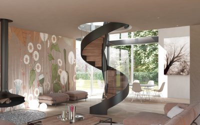 Wave Lux | Spiral staircase with central helical structure
